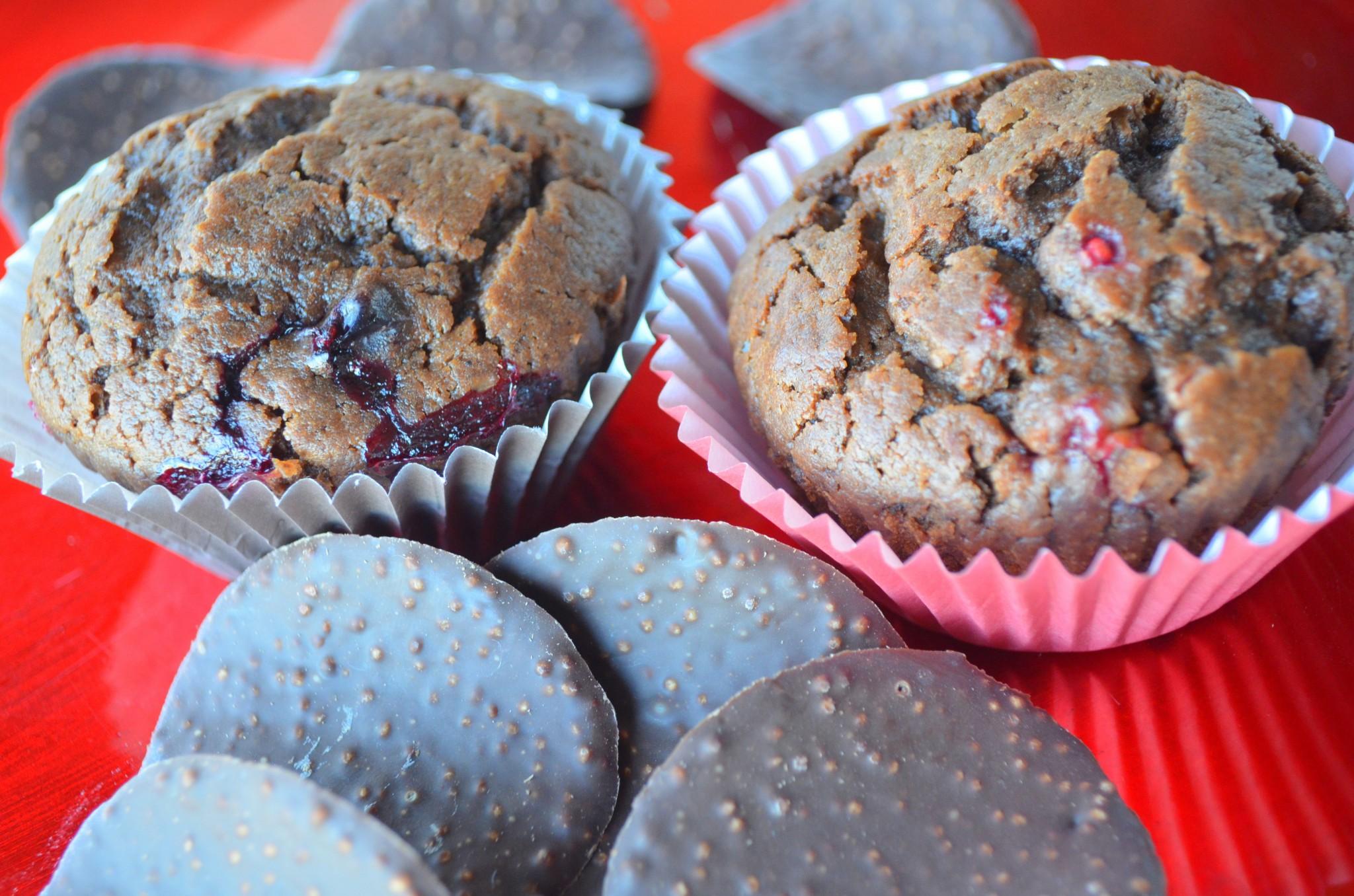 Muffins de Chocolate e Frutos Vermelhos