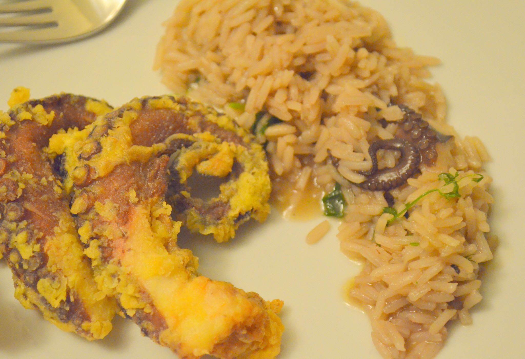 Polvo frito com arroz do mesmo