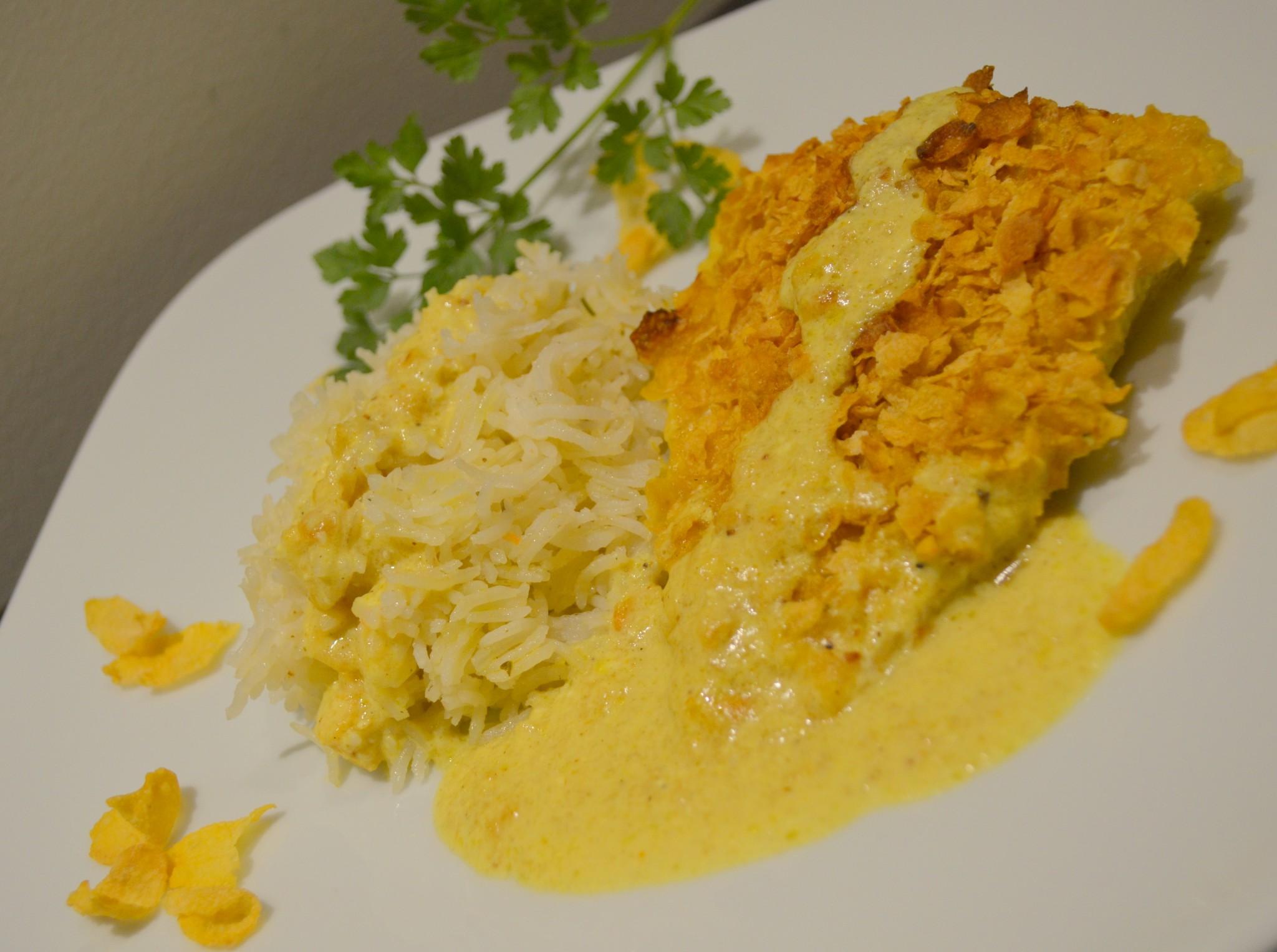 Peixe Galo em molho de caril e mostarda